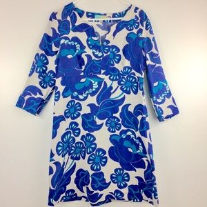 Boden 100% linen blue/cream floral popover dress-8